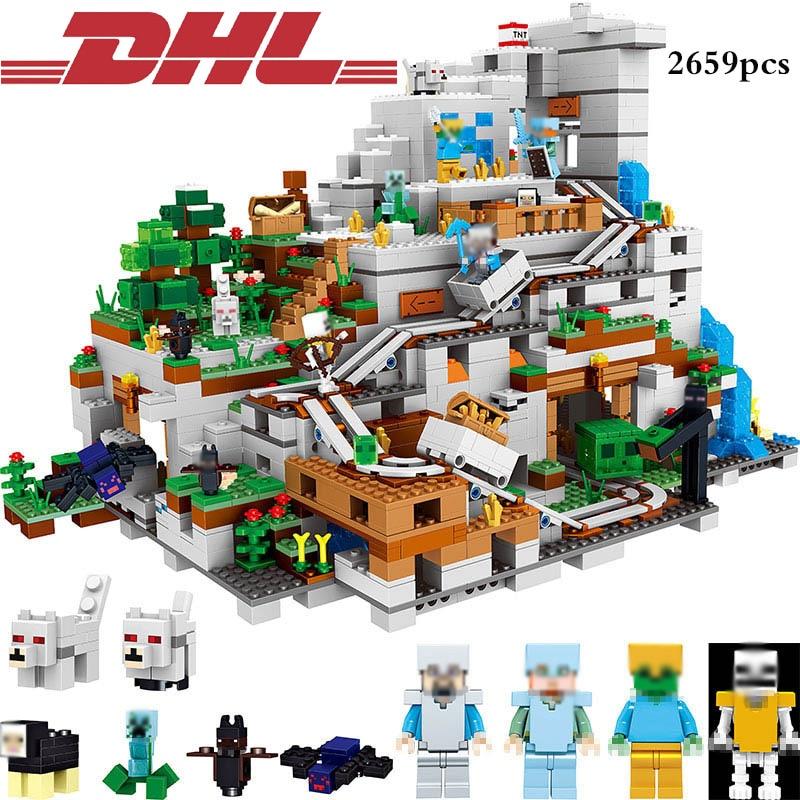 DHL 2659pcs Minecrafted Steve Enderman Action Figure Mountain Cave Zombie Light Building Blocks Compatible Legoe City Bricks Toy цена