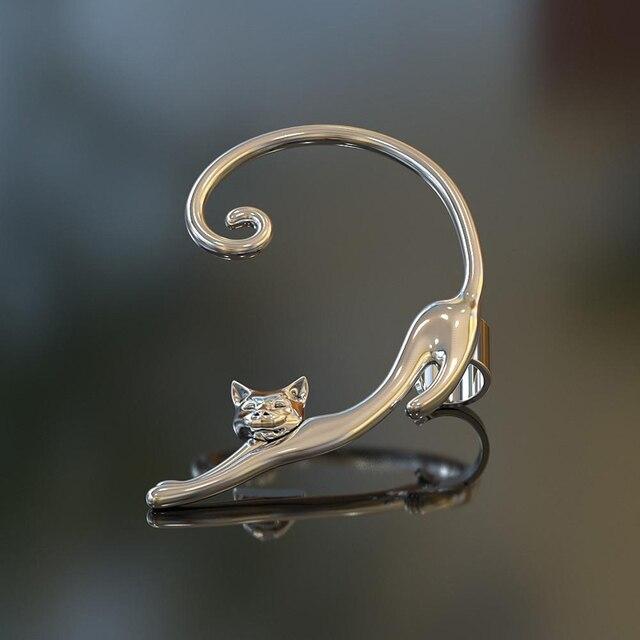 Single Piece Punk Style Gold Silver Plated Cat Post Earring With Ear Cuff Rock Animal Black Stud Earring Women 2019 Ear Wrap 3