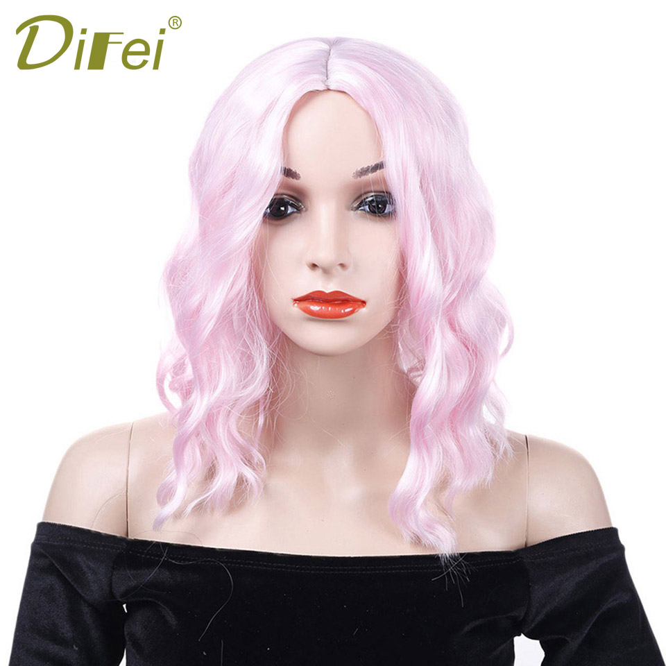 DIFEI Black And Pink Long Curly Wig Synthetic High Temperature Fiber Hair Halloween Party Cospaly wig For Women