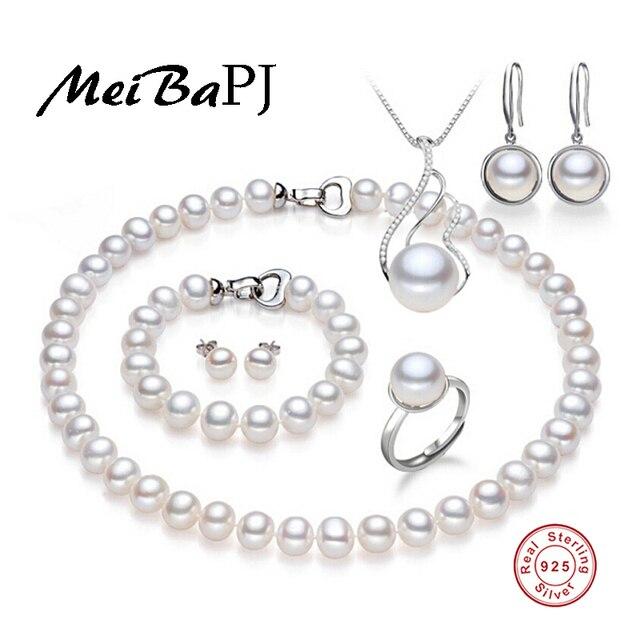[MeiBaPJ] 925 стерлингового серебра 6 шт наборы 100% настоящий природный жемчуг комплект ювелирных изделий для женщин топ качество белый цвет подарочной коробке