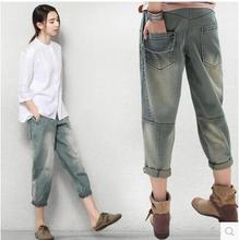 2017 Spring Plus Size Jeans Women Cotton Harem Pants Casual Denim Pants Fashion Loose Vaqueros Vintage Boyfriend Jeans E757 summer sexy loose denim pants women s boyfriend harem pants casual jeans pants plus size baggy trousers fashion cross pants 3xl