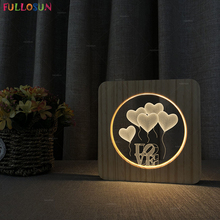 Romantic Christmas LOVE Heart LED 3D Illusion Lamp Nordic Style Wood Bedside Creative Warm Color as Gift