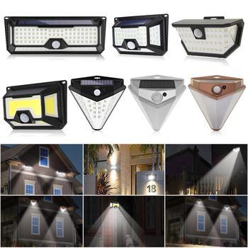 118/136LED luz Solar Sensor de movimiento PIR lámpara IP65 impermeable jardín exterior lámpara de seguridad de emergencia luz Solar lámpara
