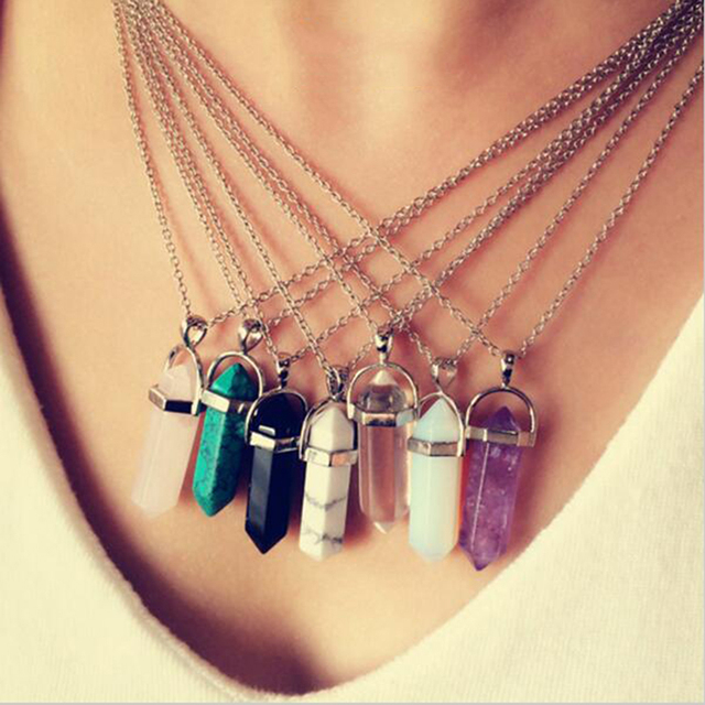 2016 Fashion Resin Turquoise Hexagonal Column Pendant Necklace for Women Simulated Agate Amethyst Chain Necklaces