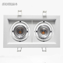 Super Bright Recessed LED Dimmable Square Downlight COB 10W/2*10W/3*10W Spot light White/Black Ceiling Down 325*135mm