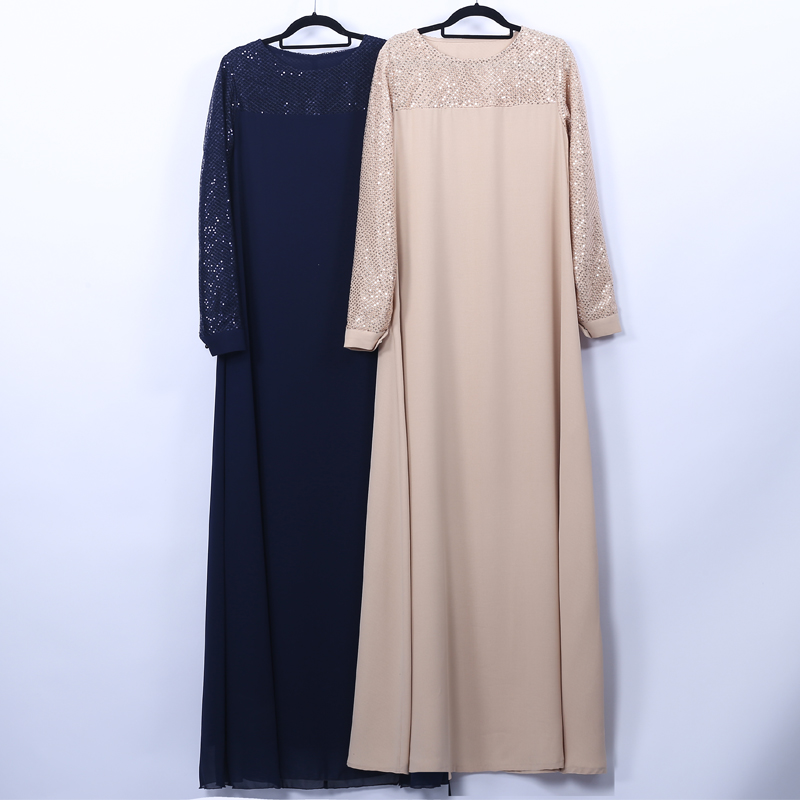 Vestidos Sequin Abaya Dubai Long Maxi Muslim Hijab Dress Women Kaftan Caftan Elbise Eid Turkish Dresses Robe Musulmane Longue