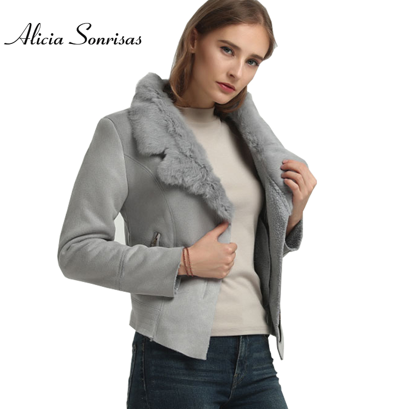 Winter Faux Sheepskin Leather Jacket Women Suede Jacket Lambs Wool Locomotive Real Rabbit Fur Collar Long Sleeve Warm Slim Coat