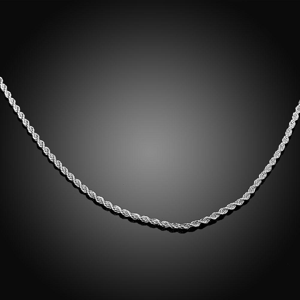 Hot Penjualan Eceran Grosir Super Shiny Perak Kalung Wanita Pria - Perhiasan fashion - Foto 4
