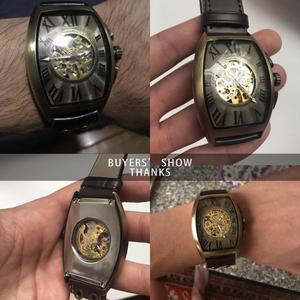 Image 5 - Shenhua  Vintage Automatic Watch Men Mechanical Wrist Watches Mens Fashion Skeleton Retro Bronze Watch Clock montre homme