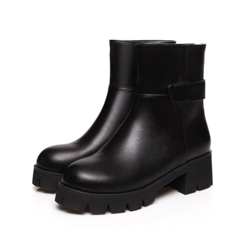 ФОТО AirfourBlack Ankle Boots for Women High Bootszip Martin Boots New Platform Grain Leather Fashion Motorcycle Boots New Big Shoes