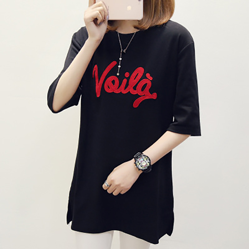 2018 summer Loose embroidery letter pure cotton comfortable female T shirt 5N