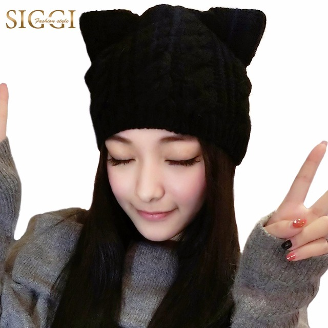 Wool Knitted Beanie Skullies Hat With Cat Ears Women Winter 2017 Warm