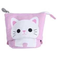 canvas Cartoon Cute Cat Telescopic Pencil Pouch Bag Stationery Pen Case Box with Zipper Closure