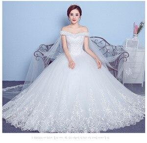 Image 4 - ลูกไม้ Appliques เย็บปักถักร้อยใหญ่งานแต่งงานชุด 2020 ใหม่มาถึงเซ็กซี่เรือคอปิดไหล่เกาหลีพลัสขนาด vestido De noiva