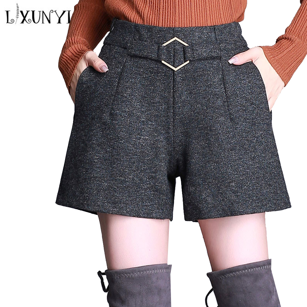 LXUNYI 2019 Autumn Woolen Shorts Women Elastic Waist High Waist Wide Leg Shorts Female Pockets Office Shorts Dark Gray Buttom
