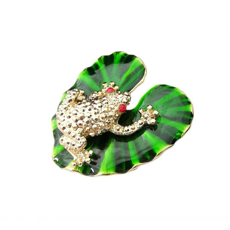 Frogs Brooches For Women Accessories Green Enamel Pin Metal Animal Enamel Rhinestone Brooch Cute Kids Pin Fashion Jewelry