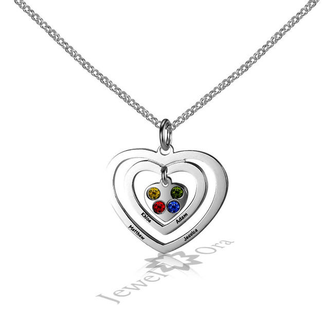 Personalized Family Jewelry 925 Sterling Silver Engraved 3 Heart Birthstone Pendant Necklace Custom 4 Name Necklace For Her