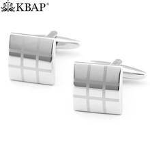 Men's Classic Silver Cufflinks Plaid Pattern Square Cuff Links Wedding Business Shirt Sleeve Buttons Men Jewelry Favor Gifts