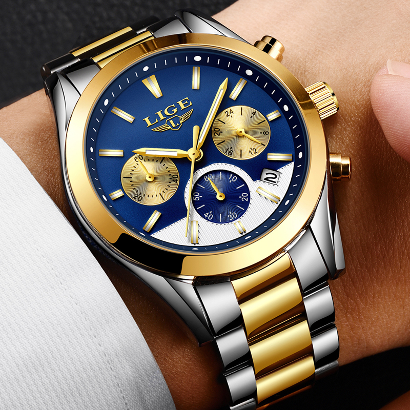 2018 NEW LIGE Watch Mens Military Waterproof Top Brand Watches Stainless Steel Quartz Clock Man Full Steel Wrist Watch relogio цена