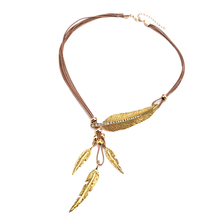 Women Punk Gothic Charm Crystal Alloy Feather Leaves Pendant Multilayer Leather Cord Rope Necklace Female Short Chain Jewelry