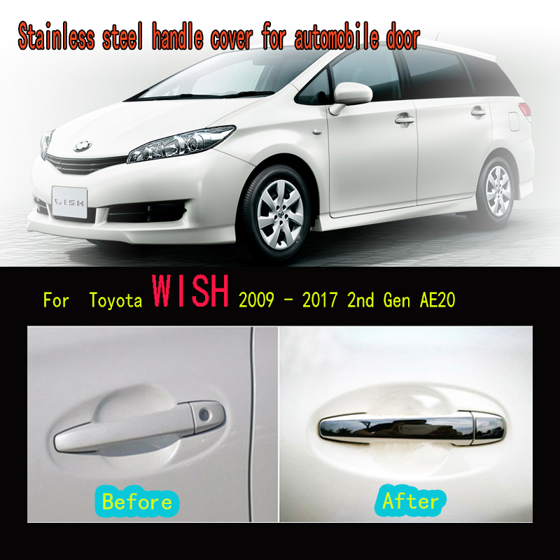 Karcng 8X Car Stainless Steel Exterior Door Handle Bowl Frame Sticker For Toyota Wish 2009-2017 2nd Gen AE20