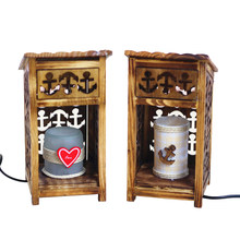 Creative Wooden House Model Craft Night Light Furnishing Articles Home Decoration Figurines Miniature Craft For Student Craft(China)