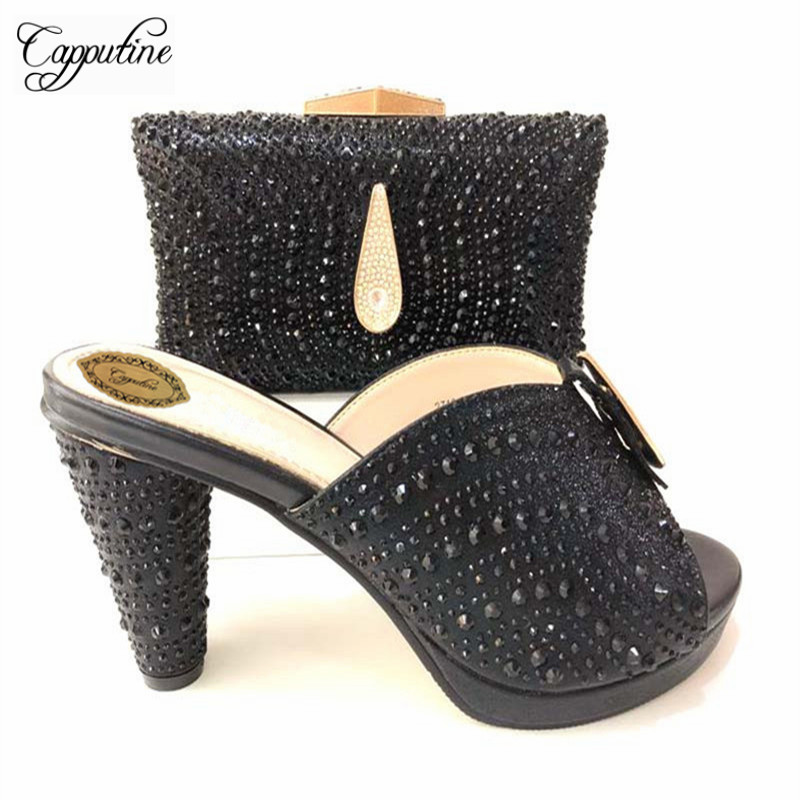 Capputine Italian Shoes With Matching Bags Set Hot African Women's Party Shoes and Bag Sets Black Color Women Sandals And Purse цена