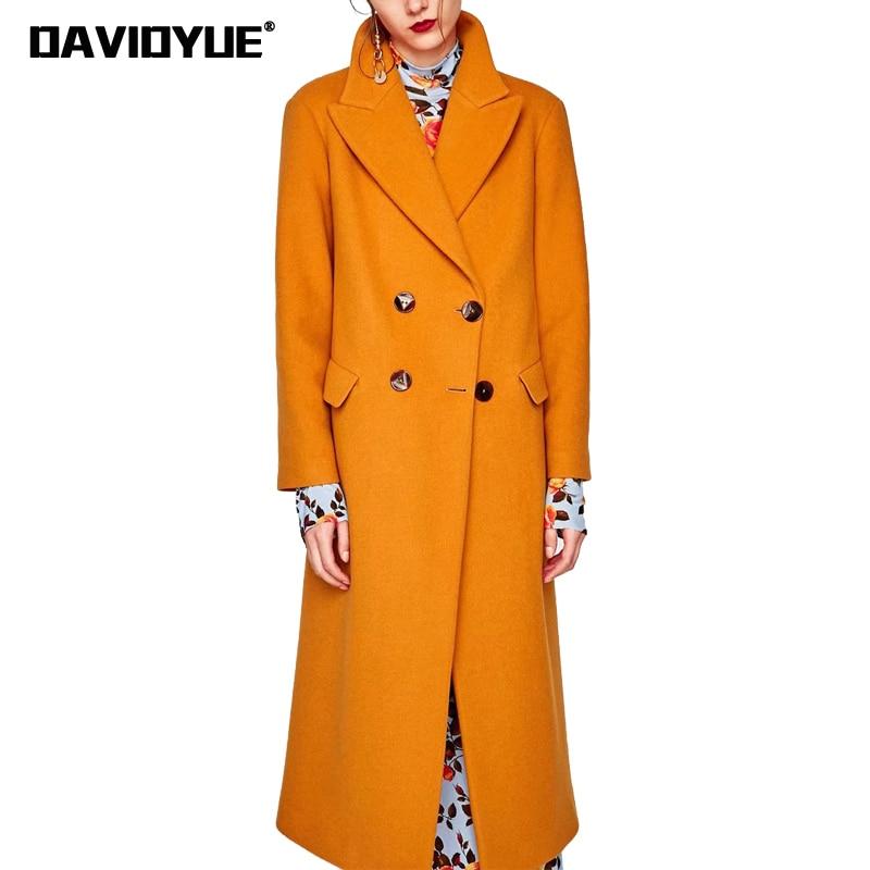 Spring Women's windbreaker Orange wool Trench Coat female Turn Down Collar double breasted outwear 2018 Belt women trench coat double breasted wool blend longline trench coat