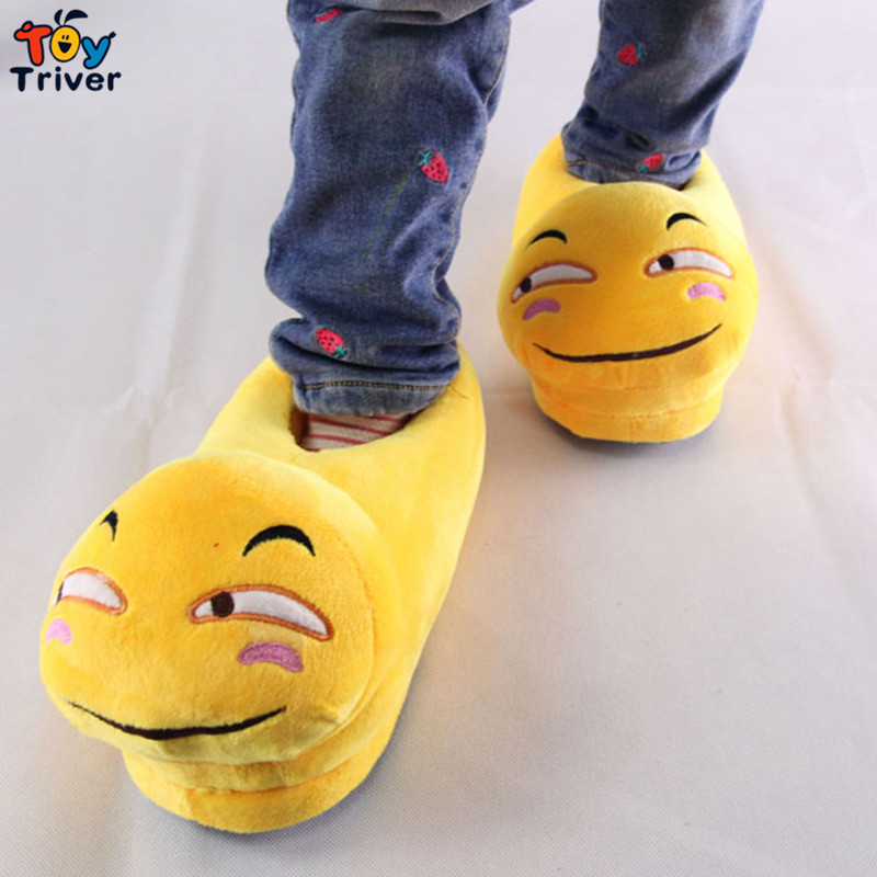 Funny Face Expression Stuffed Plush Slippers Home House Winter indoor shoes Plush Toys Triver Toy ...