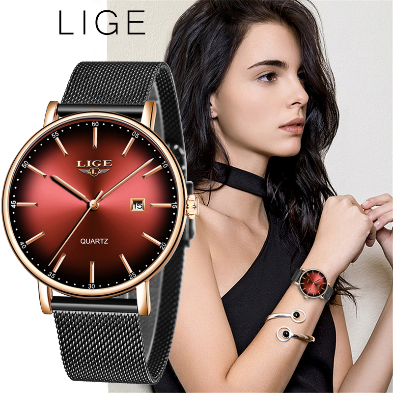 LIGE Fashion Women Watch Top Brand Luxury Ladies Mesh Belt Ultra-thin Watch Stainless Steel Waterproof Quartz Watch Reloj Mujer