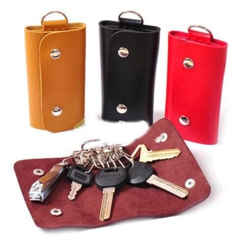 1PCS Key Bag Fashion Style Solid Key Wallets Bag Unisex Mini PU Leather Car Housekeeper Holder Keychain Free Shipping