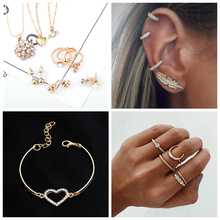 9 Pieces Crystal Jewelry Set For Women 3 Multi Layer Flower Shape Chain Necklace Gold Color Rings CZ Shiny Stud Earrings Wedding