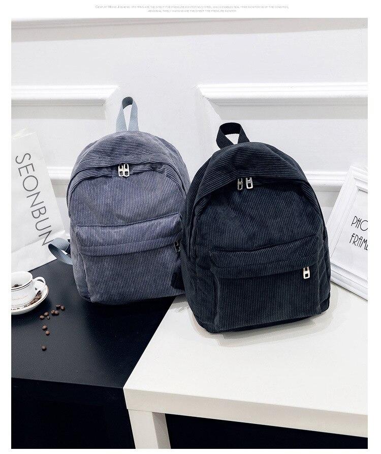 HTB1Mgfid8Gw3KVjSZFwq6zQ2FXaO 2019 New Corduroy Women Backpack Pure Color Women Travel Bag Fashion Double Backpack Female Mochila Bagpack Pack Design