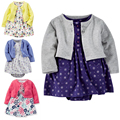 2017 brand cbaby girls clothing kids 3pc/set 100% cotton Jumpsuit + dress + shorts dress newborn toddler girl clothing