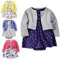2017 marca cbaby chicas ropa niños 3 unid/set 100% algodón jumpsuit + dress + shorts dress muchacha del niño recién nacido ropa
