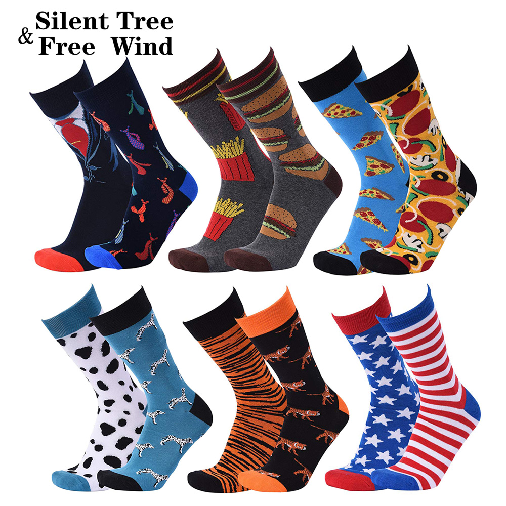EU 42 - 46 Large Size Men Crew   Socks   Funny Harajuku Hamburger Egg Bacon Pizza Bee Tiger Dog Stripes Star Gift Wedding Long   Socks
