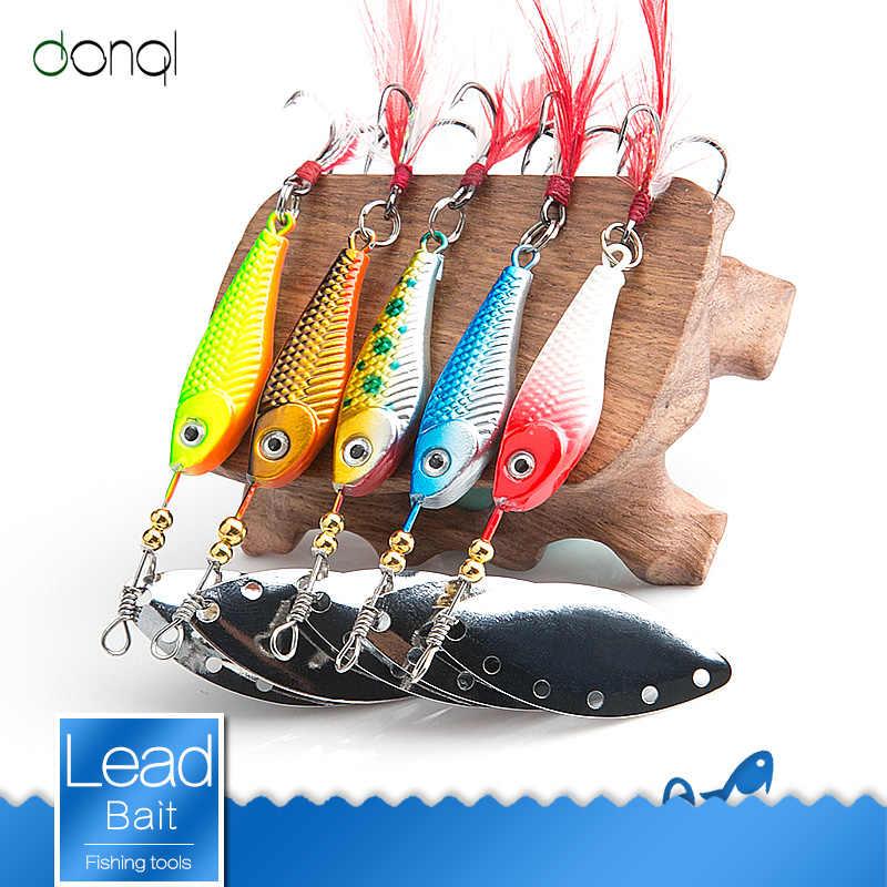 DONQL Спиннер ложка металлическая рыболовная приманка 13 г 16 г блёстки коленчатая приманка ложка искусственные приманки воблер вращающаяся приманка с тройными крючками