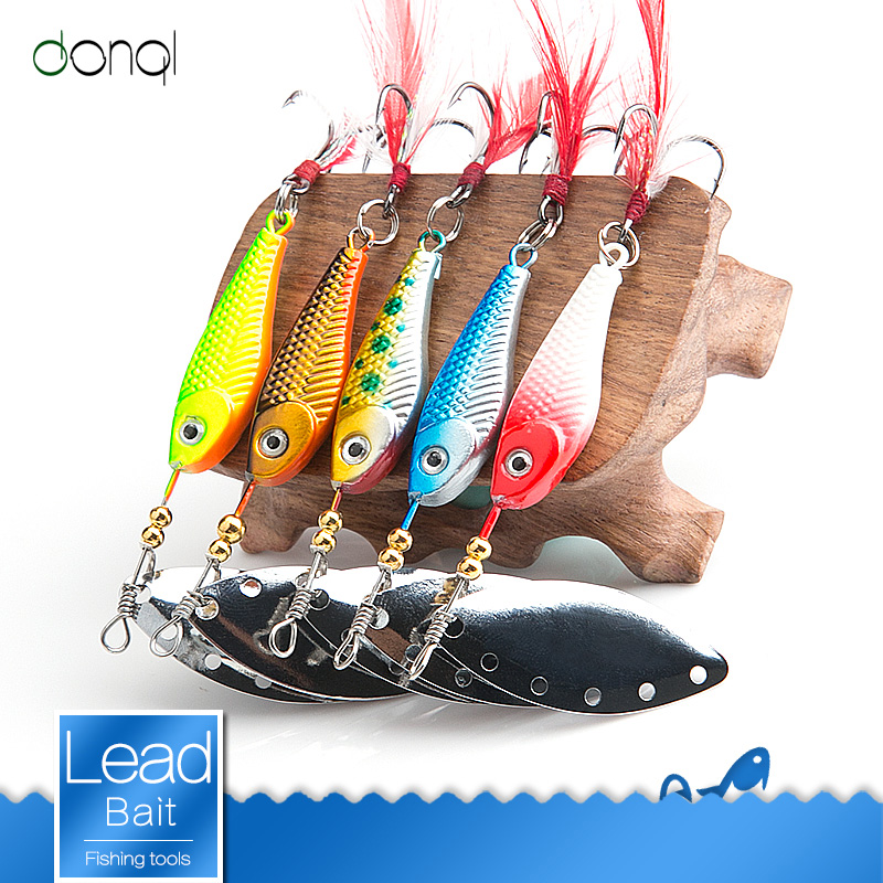 DONQL Spinner Spoon Metal Fishing Lure 13g 16g Sequins Crankbait Spoon Artificial Baits Wobbler Rotating Bait With Treble Hooks