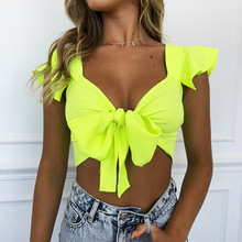 SKMY V-neck short sleeved pleated strappy crop tops summer t shirt women new arrivals streetwear sexy neon green tshirts casual