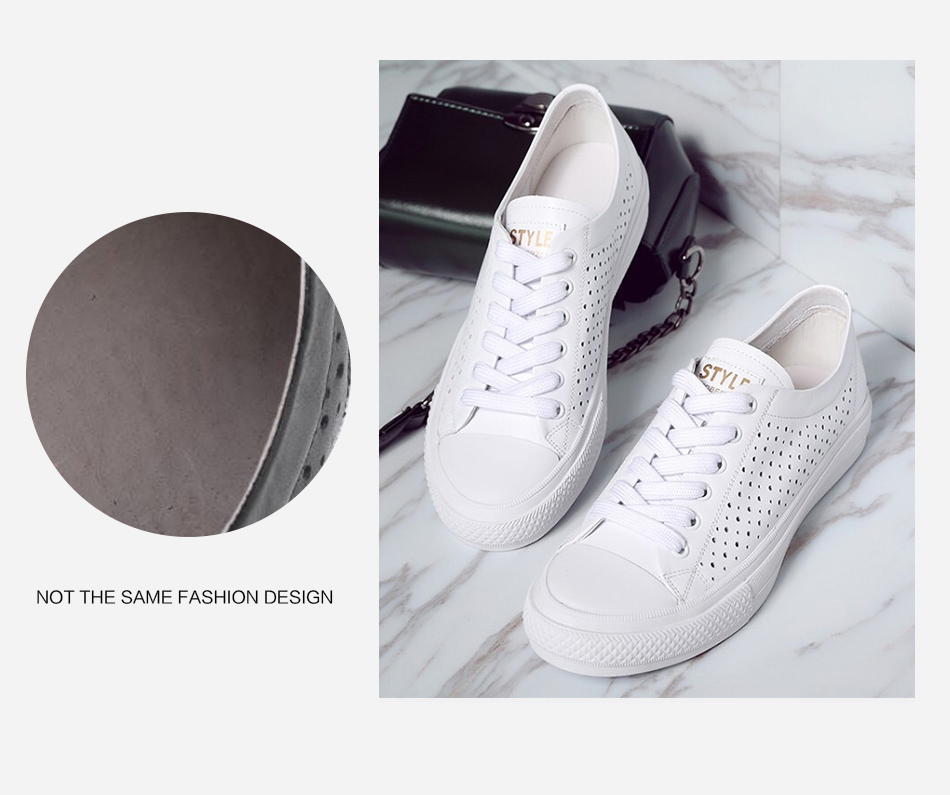 Donna-in 2019 New Women Flats Sneakers Genuine Leather Shoes Lace-up Cut-outs Flat Casual Women Shoes Hollow Summer Black White (14)