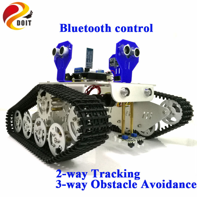 DOIT Bluetooth Control Smart Robot Tank Chassis with UNO R3 Board+Motor Drive Shield for Tracking and Obstacle Avoidance doit uno starter kit for smart car chassis with arduino uno r3 board l298n motor drive shield tracking module dupont line