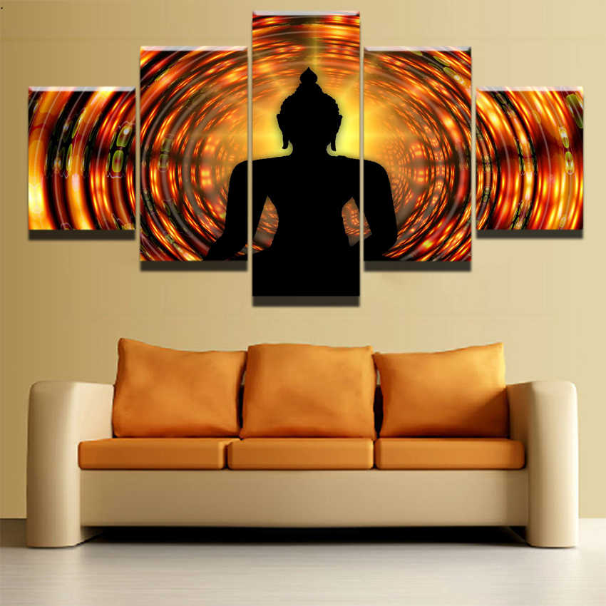 Canvas Wall Art HD Printed Modular Pictures Framework 5 Pieces Buddha Backlight Zen Yoga Paintings For Living Room Posters