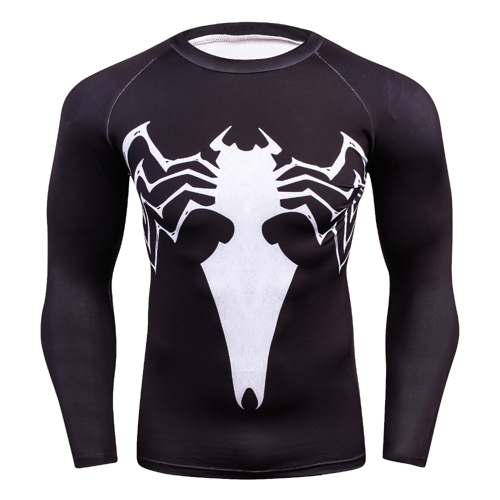 2018  Men's Bodybuilding Long-sleeved T Shirt  Spider venom 3D Printed T-shirts Men Compression  long Sleeve  T shirts TOP tees