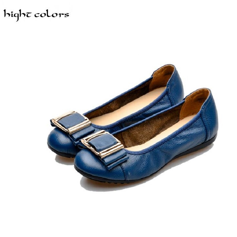 (hight colors) 6 Colors Plus Size(34-43) Women Shoes 2016 Loafers Women Genuine Leather Flat Shoes Woman Casual Nurse Work Shoes