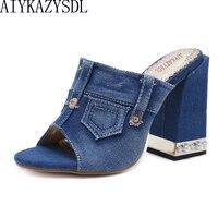 AIYKAZYSDL Women Sandals 2018 Denim Peep Toe High Heels Women Classic Open Toe Pearl Thick High Heel Mules Sides Casual Shoes