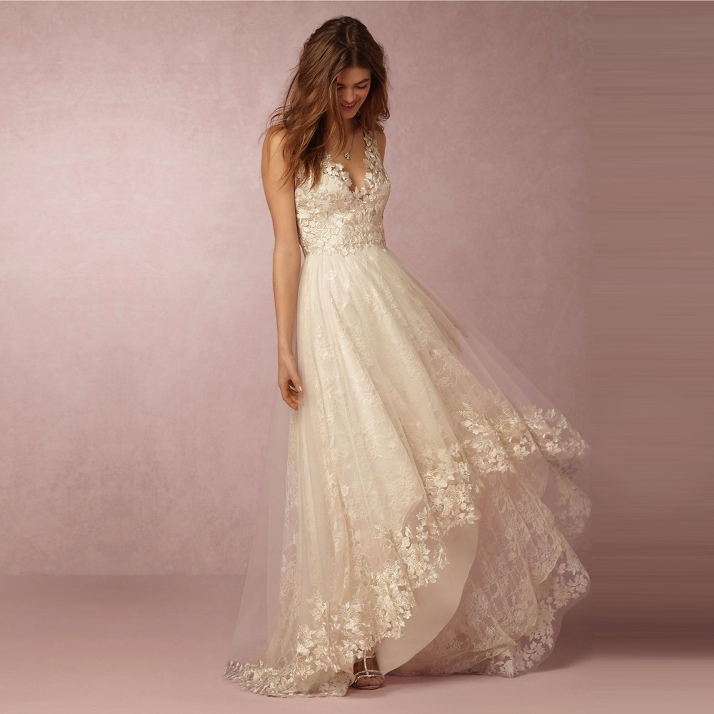 Champagne Lace Bohemian Wedding Dress High Low Long Back