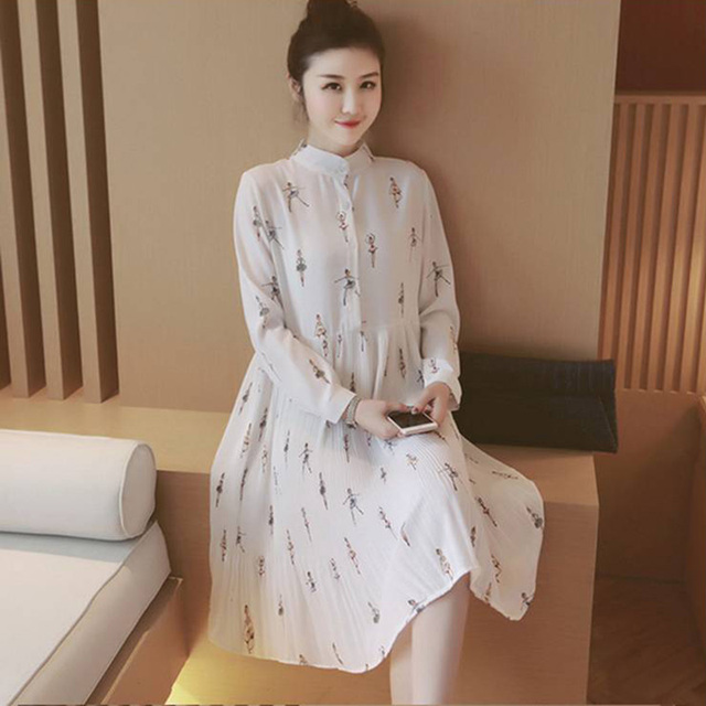 Bonito elegante roupa de maternidade gravidez de verão chiffon de manga longa roupas de enfermagem para mulheres grávidas grávidas dress branco