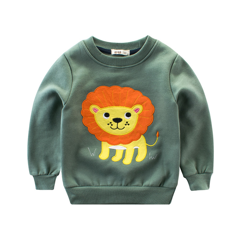 O-Neck Cartoon Animals Velvet Top Long Sleeve T Shirt Boys 2-8 Years Cotton Novelty Sweatshirt Kids Pullover Moletom Infantil