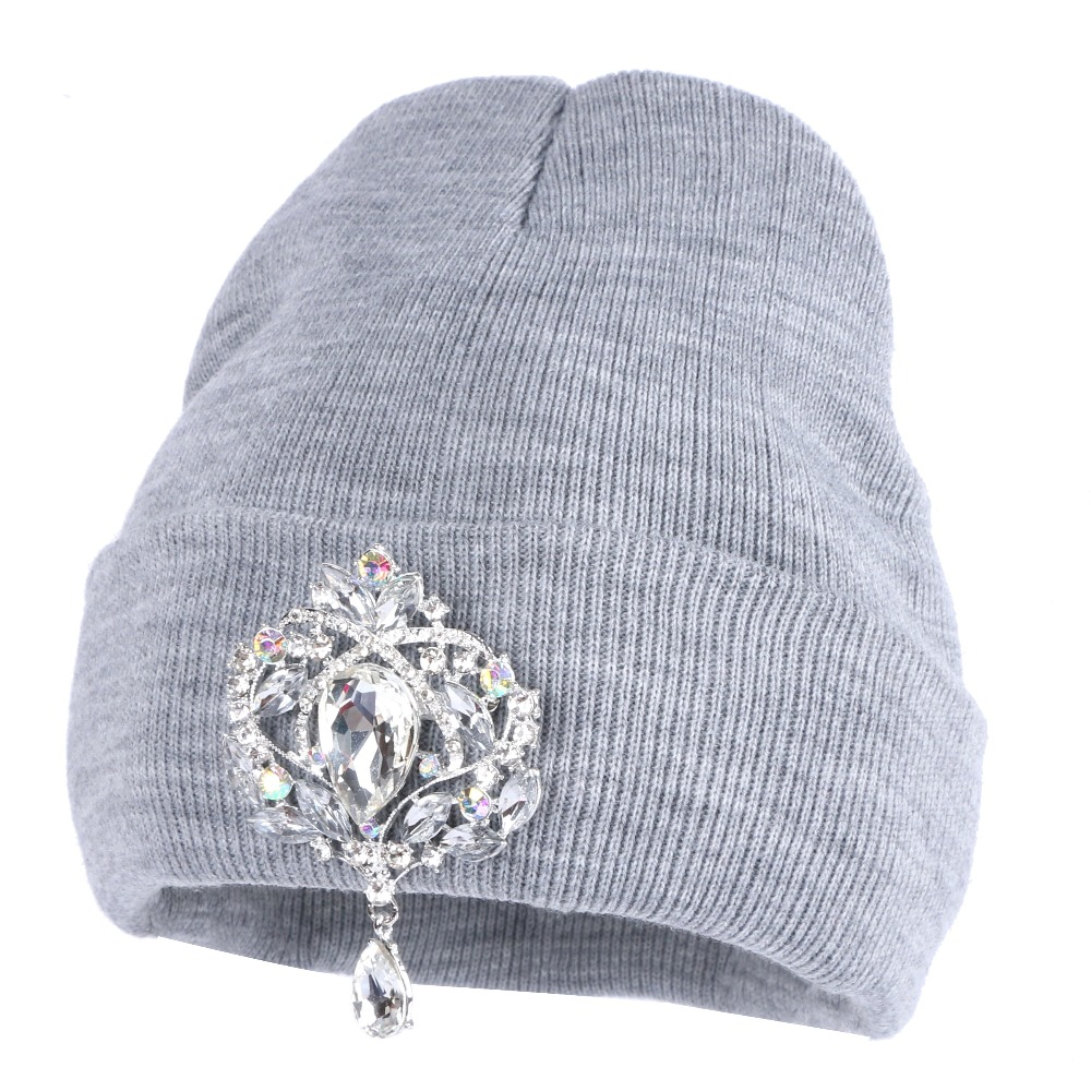 Image Girl women fashion beanies winter hats luxury crystal floral casual skullies woman new design winter hat beanie