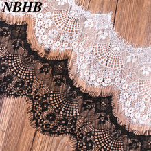 NBHB 6 meter/Lot Eyelash Lace Fabric Trim Diy Accessories Flower Black White 10cm Width make clothes skirts home decoration(China)